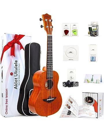 Ukulele Instrumento de Soprano de Caoba Maciza de 21 Pulgadas con Curso Gratuito Online y Kit