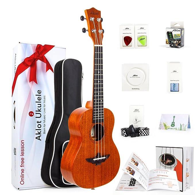 Ukulele Instrumento de Concierto de Caoba Maciza de 23 Pulgadas con Curso Gratuito Online y Kit de Iniciación con 8 artículos (Funda, Púas, Afinador, ...