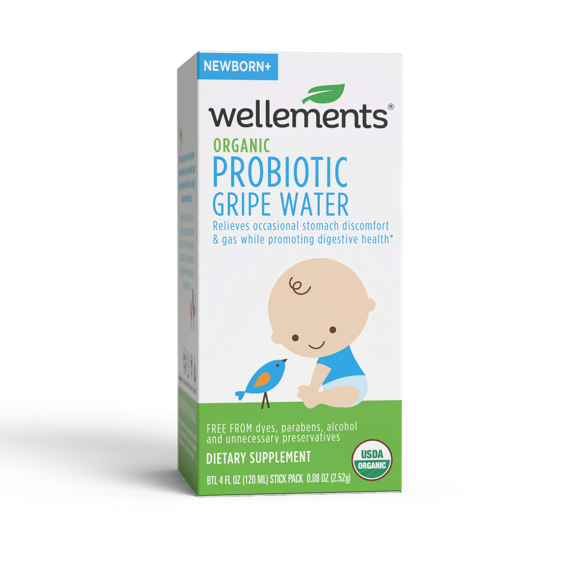 Wellements Organic Probiotic Gripe Water, 4 Fl Oz, Eases Baby's Stomach Discomfort, Digestive and Immune Support, Free From Dyes, Parabens, Alcohol, Preservatives by Wellements