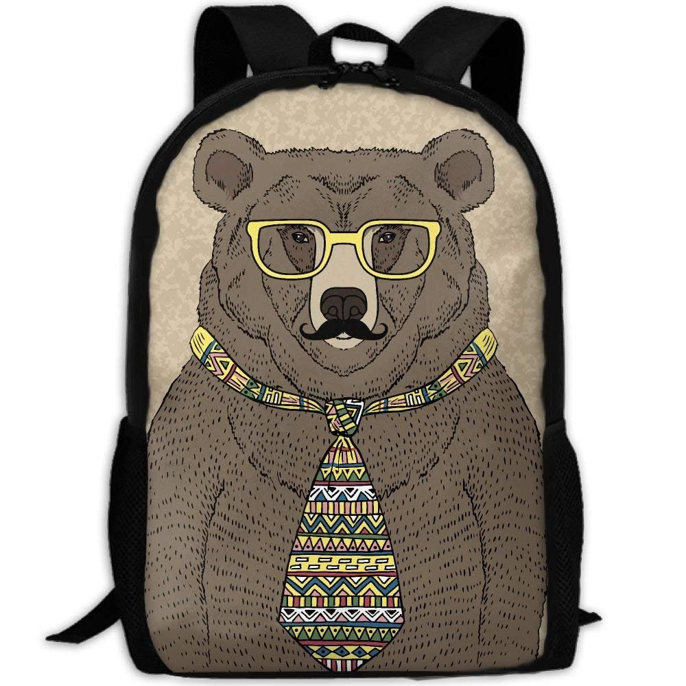 YIXKC Adult Backpack Hipster Bear In Tie And Glasses With Mustache Daypack