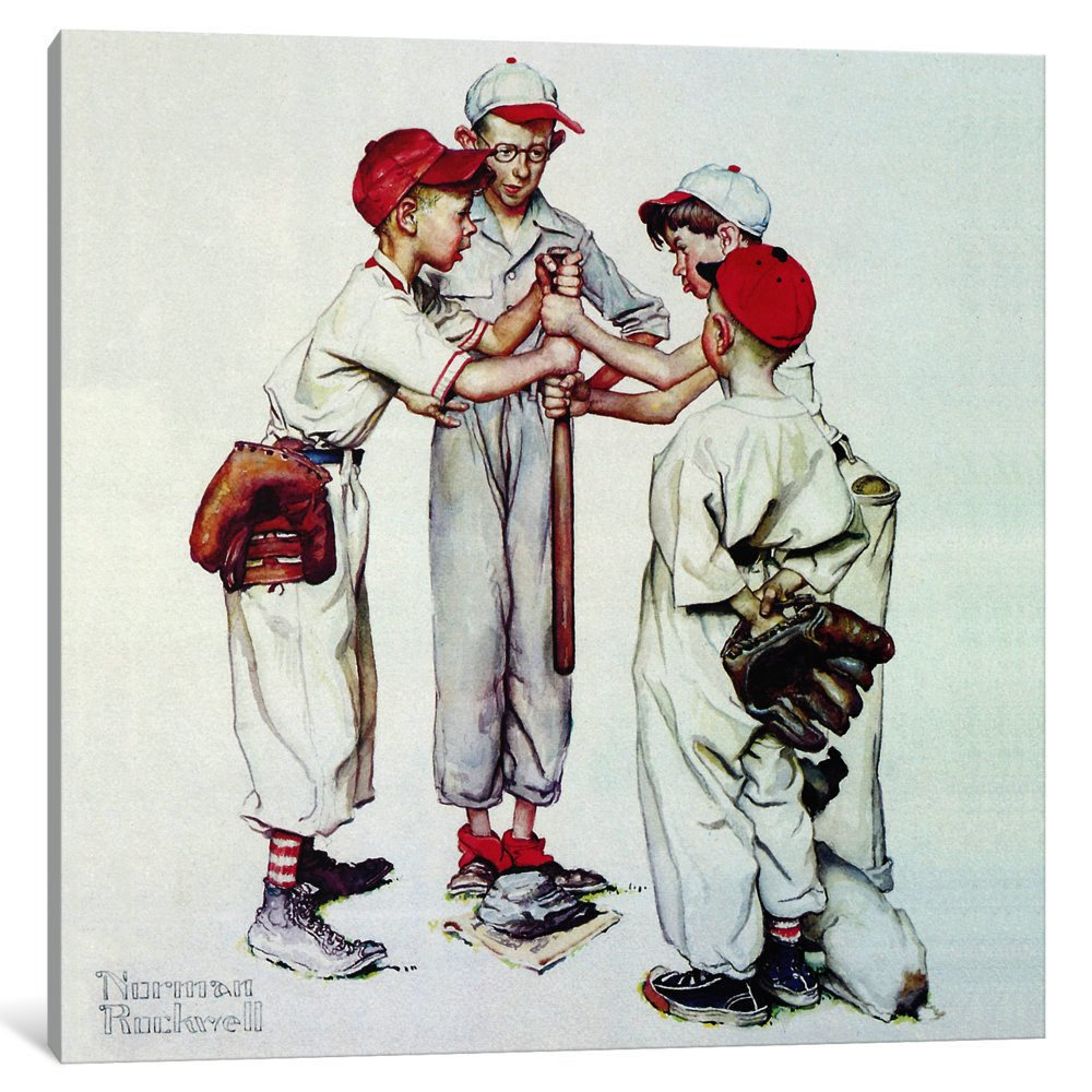 iCanvasART 1-Piece Choosing up 'Four Sporting Boys: Baseball' Canvas Print by Norman Rockwell, 0.75 by 37 by 37-Inch