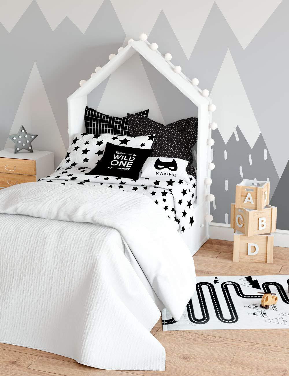 Amazon.com: Twin Kid Monochrome Stars Duvet Cover, Bedding Set For