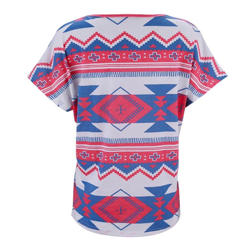 Mujeres Tops Piebo De Las Mujeres Moda Casual Manga Corta Camiseta con Cuello en v Ajuste Holgado Patrón Túnica Tops: Amazon.es: Ropa y accesorios
