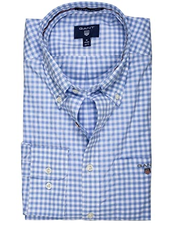 31759de1443 Gant Hampton Blue Broadcloth Gingham Shirt: Amazon.co.uk: Clothing