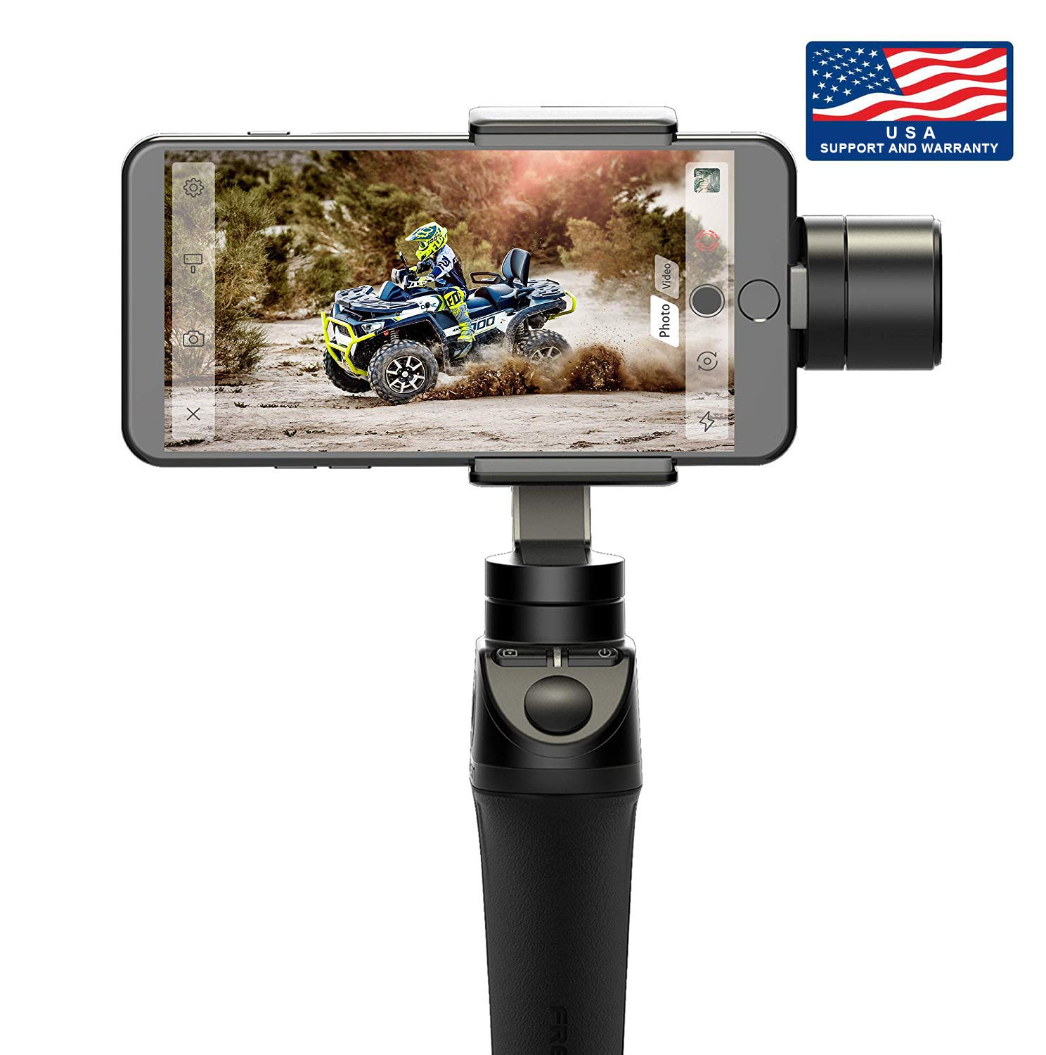 Freevision Vilta-M Pro 3-Axis Handheld Stabilizer Gimbal for iPhone Premium Stability Performance Wireless Charging Double Wheel Samsung Mark A//B Focus Point Setting