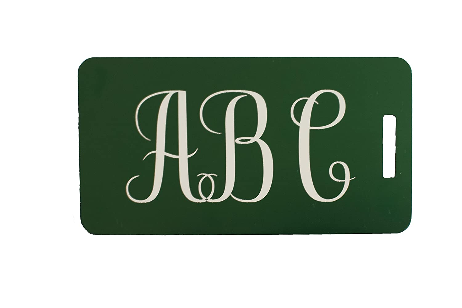 0027115109cb Two Custom Engraved Aluminum Luggage Tags (Green)