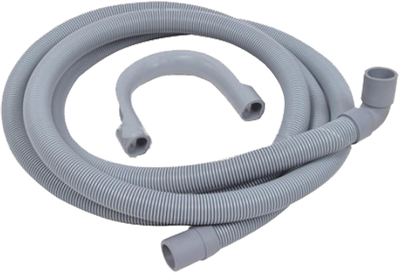 Spares2go Universal manguera de drenaje con extremo de ángulo recto para lavadoras (2,5m, 19mm/21mm)