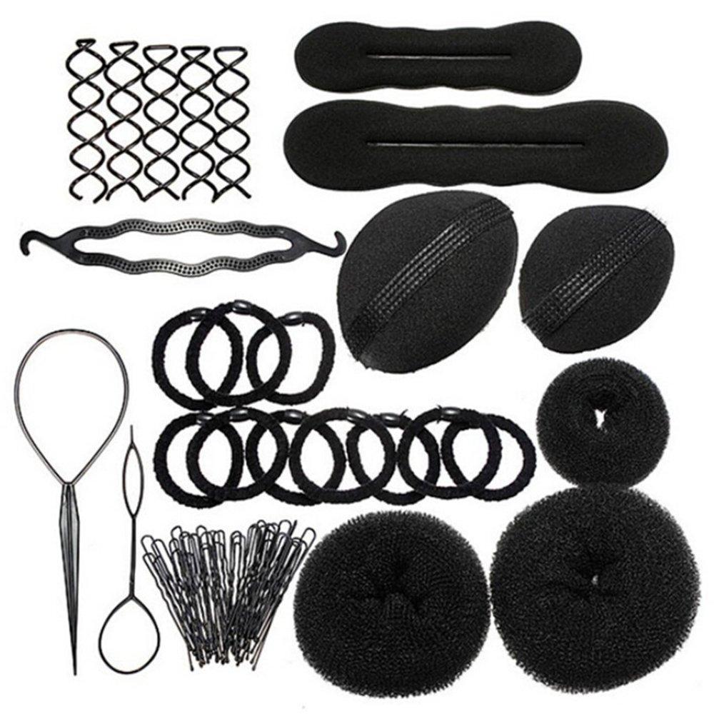 Sanwood Bun Maker Roller Braid Twist Elastics Pins Hair Design Styling Tools Kit ,Black (Black) by Sanwood (Image #1)
