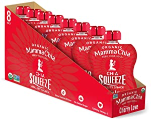 Mamma Chia Organic Vitality Squeeze Snack, Cherry Love, 8 Count (Pack of 2) Chia, Fruit and Vegetables with only 70 Calories
