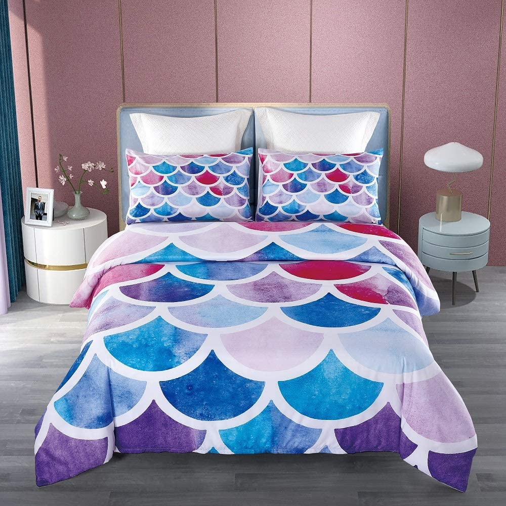 KINBEDY Colorful Geometric Fish Scale Pattern Mermaid Duvet Cover Set Full Size for Kids Girls Women Bedding Sets Soft Microfiber Lightweight Marine Life Decorative Bedding