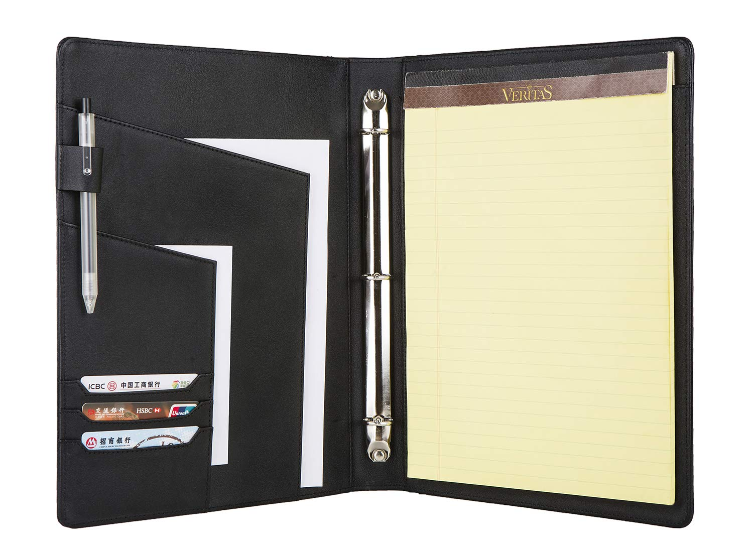 Handmade Genuine Leather Business Conference File Folder with 3 Ring Binder,Portfolio Padfolio Organizing Case with A4/Letter Size Notepad Holder,Black