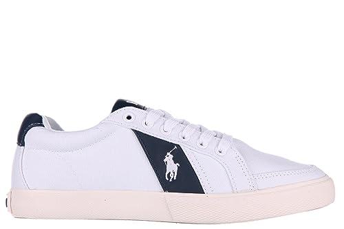 Polo Ralph Lauren zapatos zapatillas de deporte hombres en algodón nuevo hugh pure blanco EU 45 A85 Y0470 BDNSYW1433: Amazon.es: Zapatos y complementos