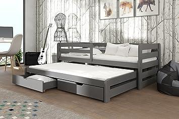 Marca nueva cama nido con cajones de madera Senso en gris grafito con colchones se vende por Arthauss, madera, Izquierda: Amazon.es: Hogar