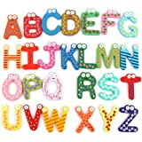 ATWOZEE Wooden Magnetic Learning Alphabet Toy for Kids - Multicolor, 26 Pcs