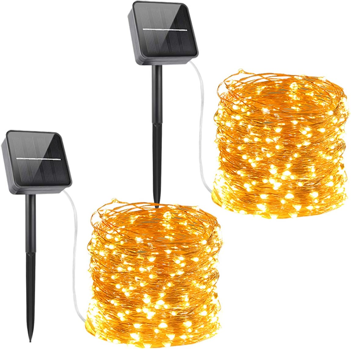 Solar Powered String Lights,Solar Fairy Lights,10 Meters/ 33Ft 100LEDS / 8 Modes,Waterproof Copper Wire Lighting for Indoor,Outdoor,Wedding,Patio,Home,Garden Decoration[2 Pack]Warm White (Warm White): Home & Kitchen