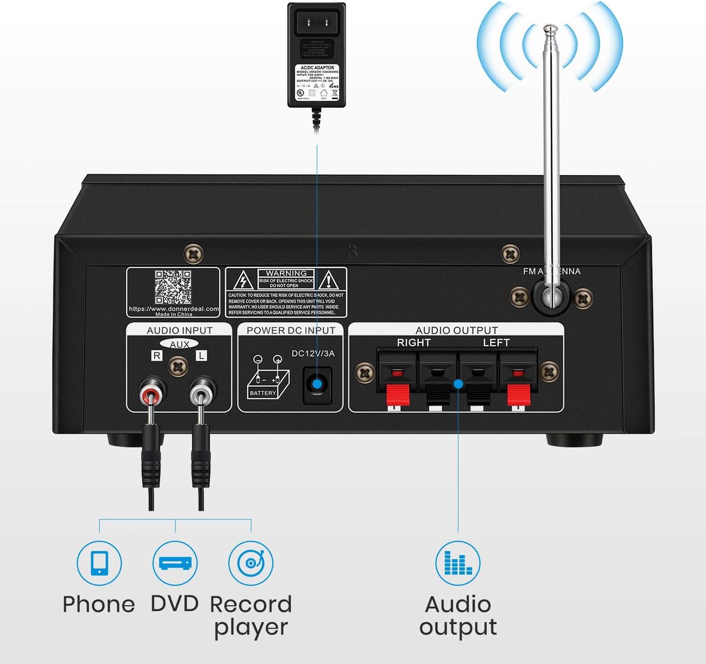 Mic Input Black MP3//USB//SD Readers Digital LED Display Desktop Audio Power Amp Receiver with FM Radio Peak Power 100 Watt Moukey Bluetooth Stereo Amplifier