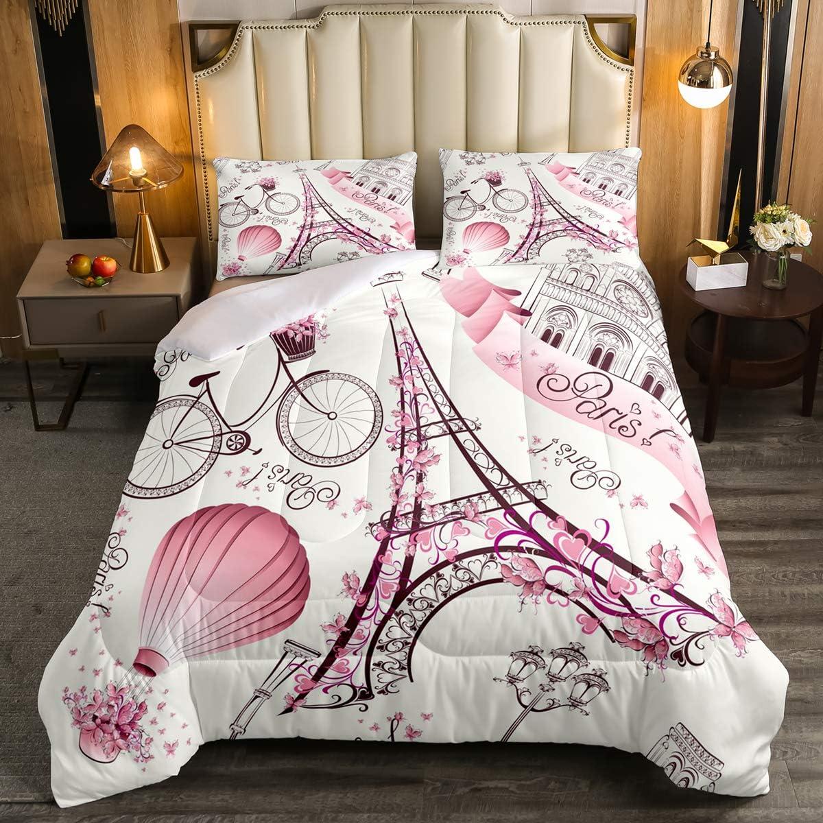 Eiffel Tower Couple Comforter Set Full Size Pink Floral Decor Down Comforter,Romantic Theme Decor Girls Adult Women Couple Quilted Duvet Paris Cityscape Printed Stylish Simple Soft Bedding Comforters