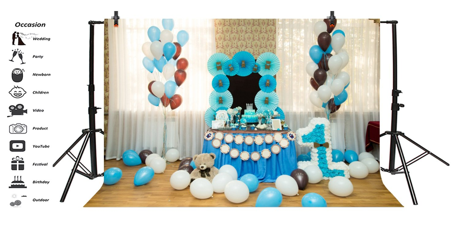 Leowefowa 1st Birthday Decorations Interior Backdrop 5x4ft Photography Backgroud Blue Paperflower Cake Table White Curtains Balloons One Year Old Baby Boy