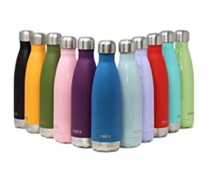 MIRA 17 Oz Stainless Steel Vacuum Insulated Water Bottle | Double Walled Cola Shape Thermos | 24 Hours Cold, 12 Hours Hot | Reusable Metal Water Bottle | Leak-Proof Sports Flask | Hawaiian Blue