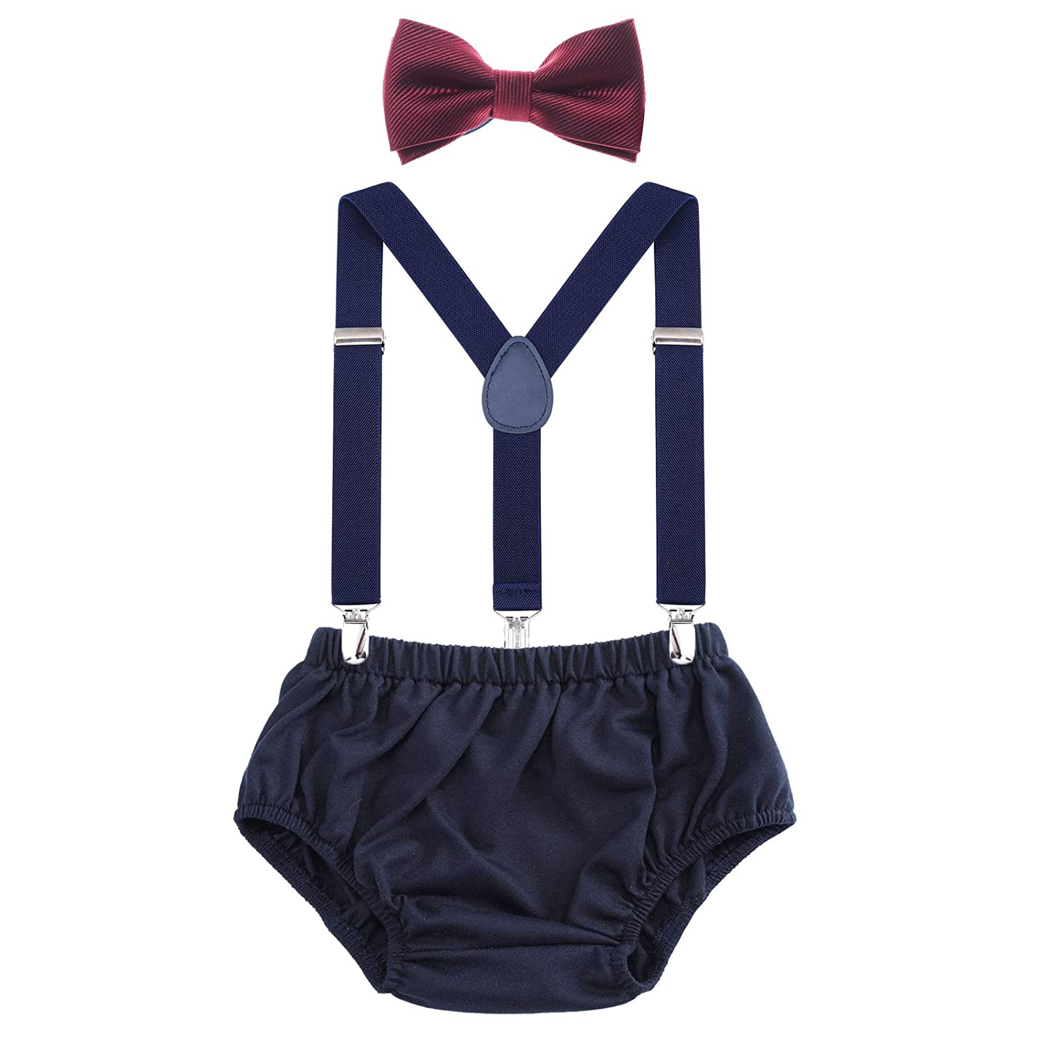 Yellow+Navy AWAYTR Toddler Boys Cake Smash Outfit First Birthday Party Christmas Elastic Suspenders Bowtie Bloomers Set