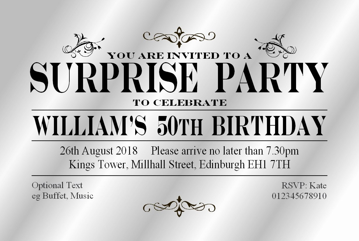 50 SURPRISE PARTY INVITATIONS Personalised for You. Gloss Card Invites for 18th 21st 30th 40th 50th 60th 70th... Birthday Party Invitations. Adult Party Invites with Free Envelopes. The Save the Date People