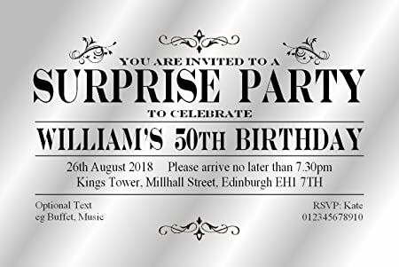 50 SURPRISE PARTY INVITATIONS Personalised For You VIPl Card Invites 18th 21st 30th 40th