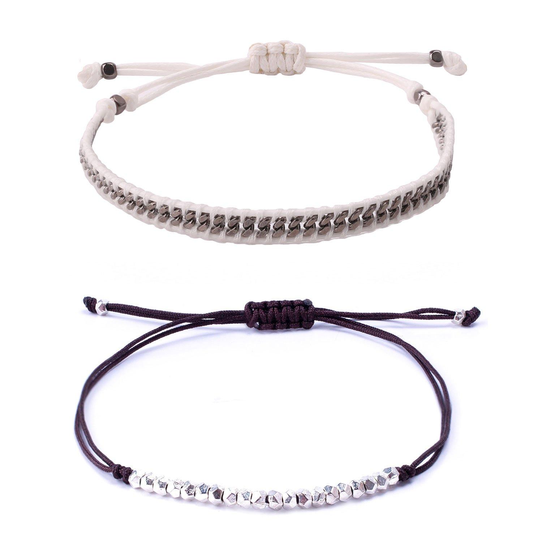 KELITCH 2 Pcs Silver Beads Chain Leather Woven Bracelets Handmade Fashion Charm Jewelry (Grey)