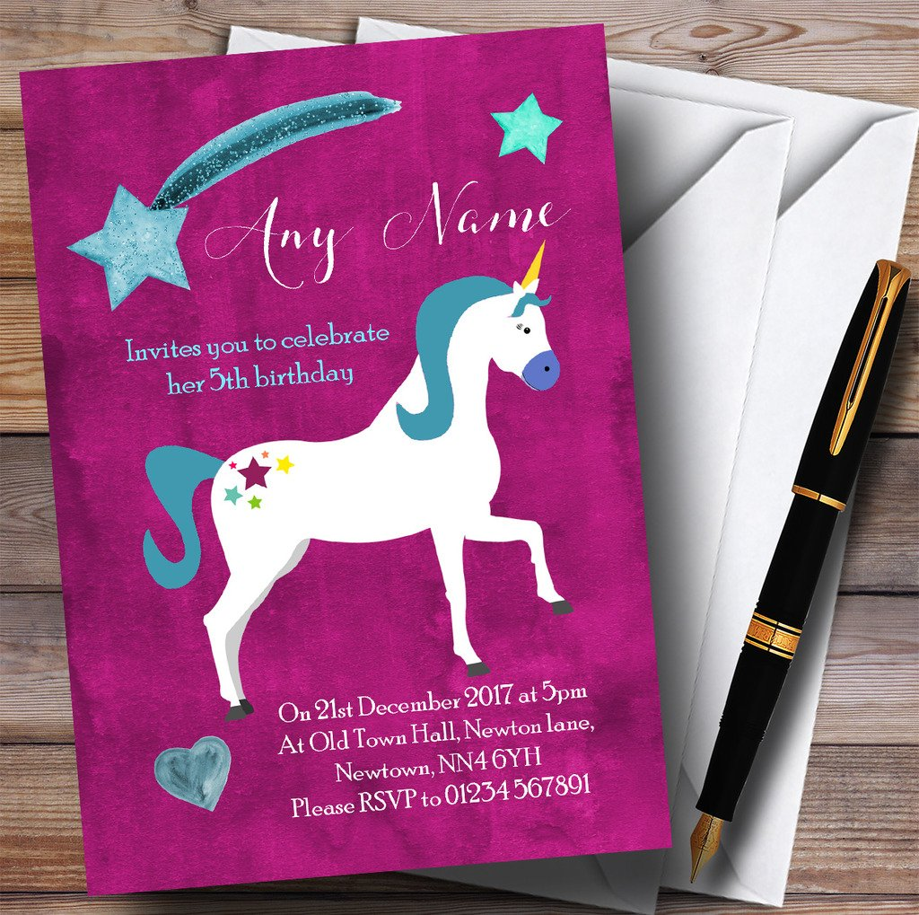 Deep Pink Unicorn Childrens Birthday Party Invitations by The Card Zoo (Image #1)