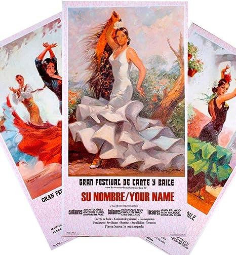 Cartel de flamenco personalizable - Vestido verde: Amazon.es: Hogar
