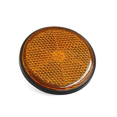 uxcell 6mm Dia Orange Plastic Round Screw Mount Reflective Motorcycle Warning Reflector: Automotive