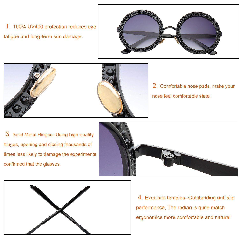 acac30b1b2 Amazon.com  ROYAL GIRL Round Sunglasses Women Oversized Metal Frame With  Crystal Vintage Shades Black Blue Lens  Clothing