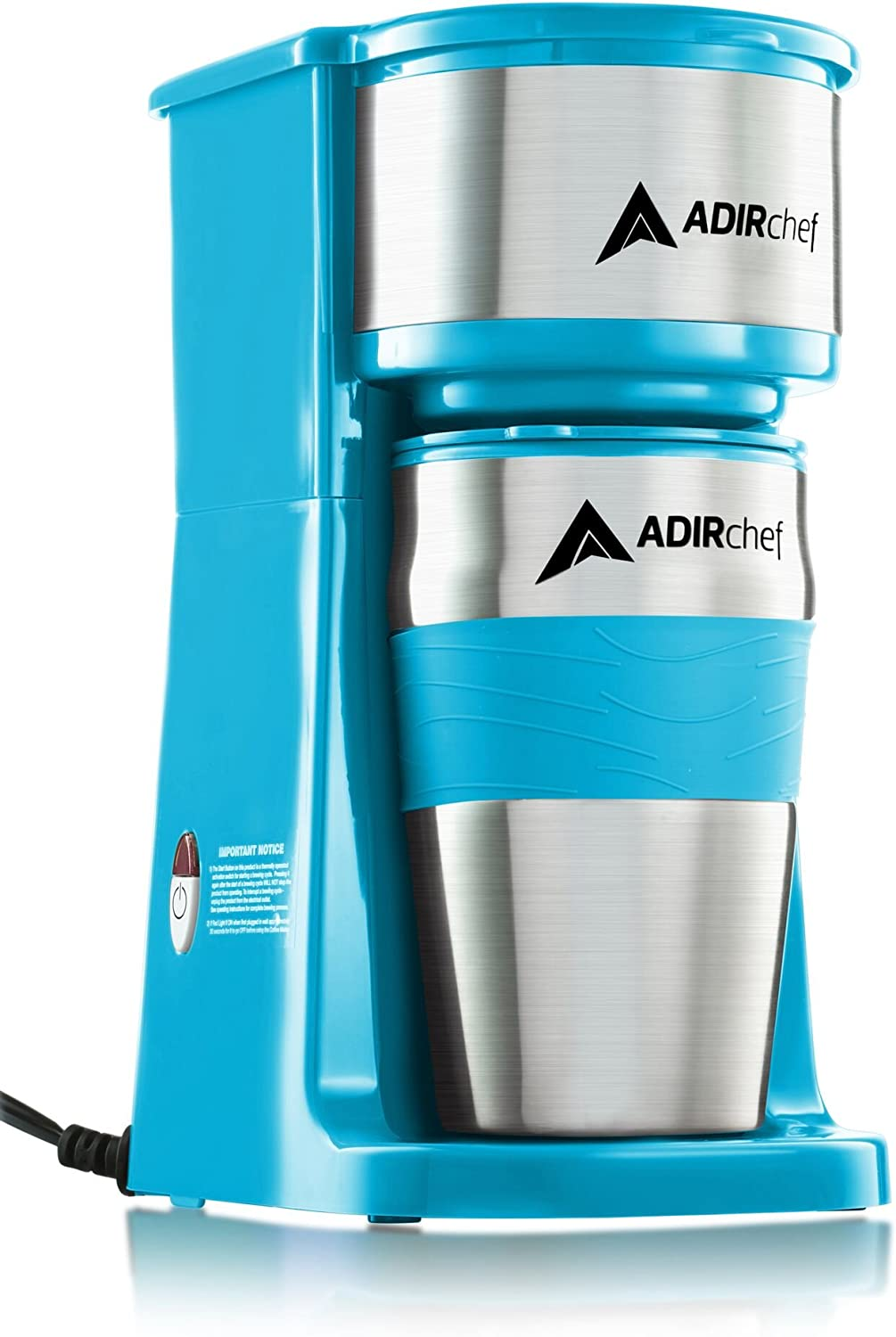 AdirChef Grab N Go Personal Coffee Maker with 15 oz. Travel Mug Crystal Blue