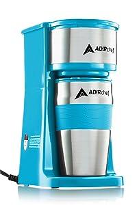 AdirChef Grab N' Go Personal Coffee Maker with 15 oz. Travel Mug (Crystal Blue)