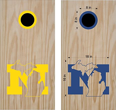 Michigan cornhole board decals stickers wolverines bean bag toss vinyl stickers comes with