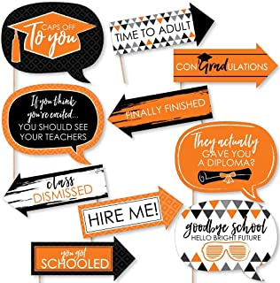 product image for Big Dot of HappinessFunny Orange Grad - Best is Yet to Come - Orange Graduation Party Photo Booth Props Kit - 10 Piece