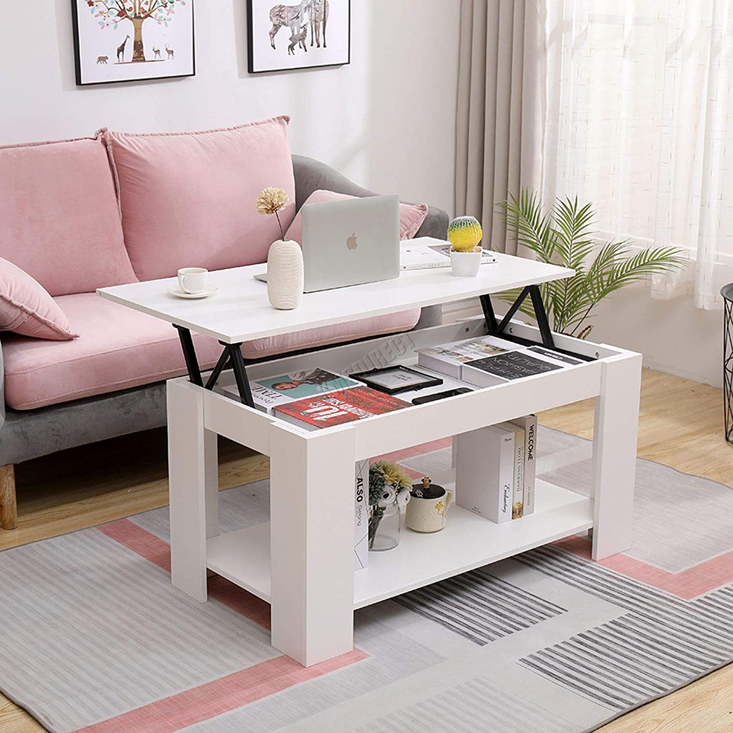 WestWood Wooden Lift Up Top Coffee Table Desk with Hidden Storage