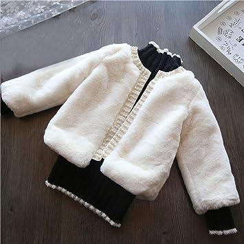 Abrigos para 2 - 7 años Vieja Chica, janly Princesa Cardigan Outwear Niños Baby Chaquetas de punto de invierno Faux abrigo de pelo con perlas abierta blanco ...