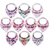 "10-Pack Baby Bandana Bibs Upsimples Baby Girl Bibs for Drooling and Teething, 10 Stylish Organic Cotton Bibs Baby Shower Gift - ""Blossom Set"""