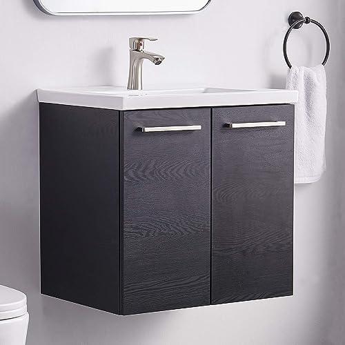 Modern 24 Black Wood Grain Wall-Mounted Floating Small Bathroom Vanity