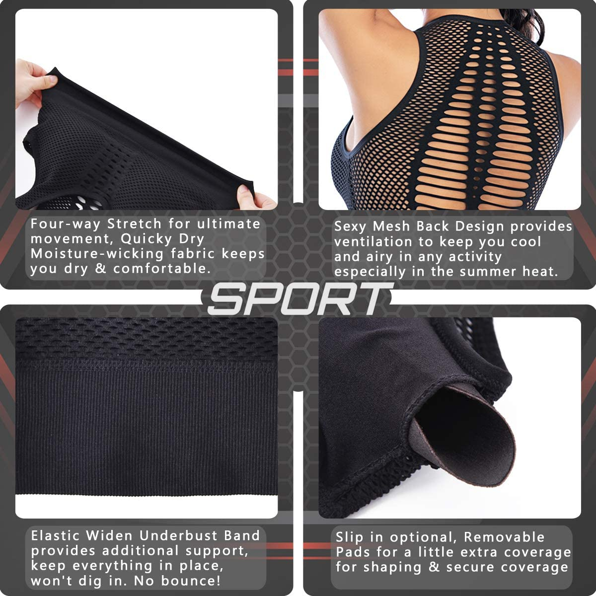 Cordaw Longline Sports Bra for Women High Impact Gym Workout Bras Racerback Padded Crop Tops Activewear