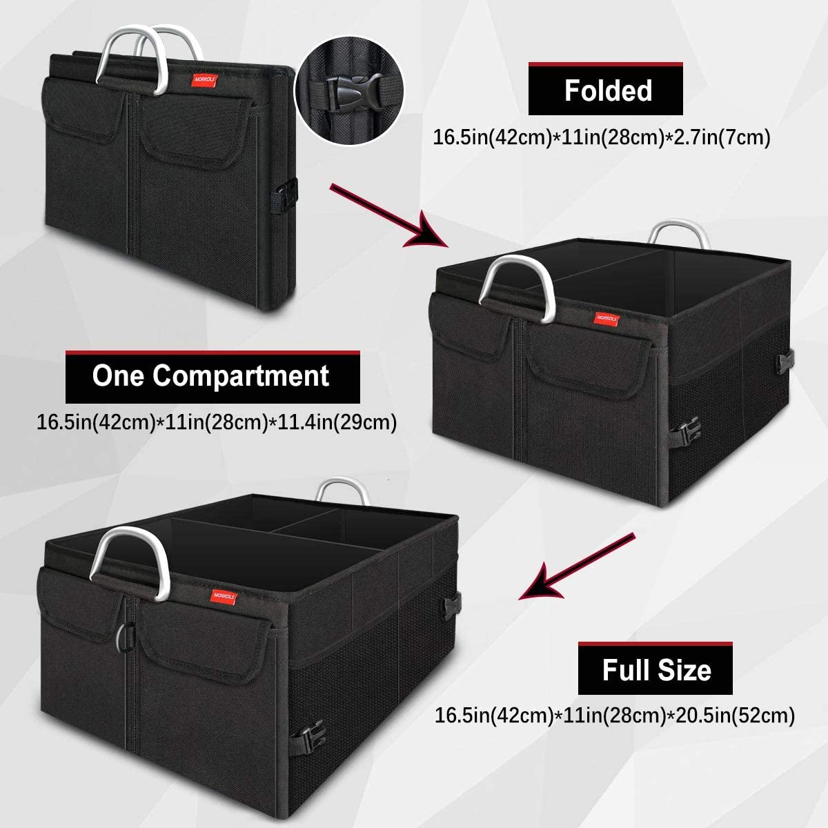 Negro Plegable Impermeable Bolsa Maletero Coche Organizador Coche MORROLS Organizador Maletero de Coche Varios Compartimentos