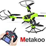 Metakoo Drone avec Caméra HD Quadcopter Telecommande avec Drône Camera Video 2MP Headless RC Drone Altitude Hold LED Lights (Vert)