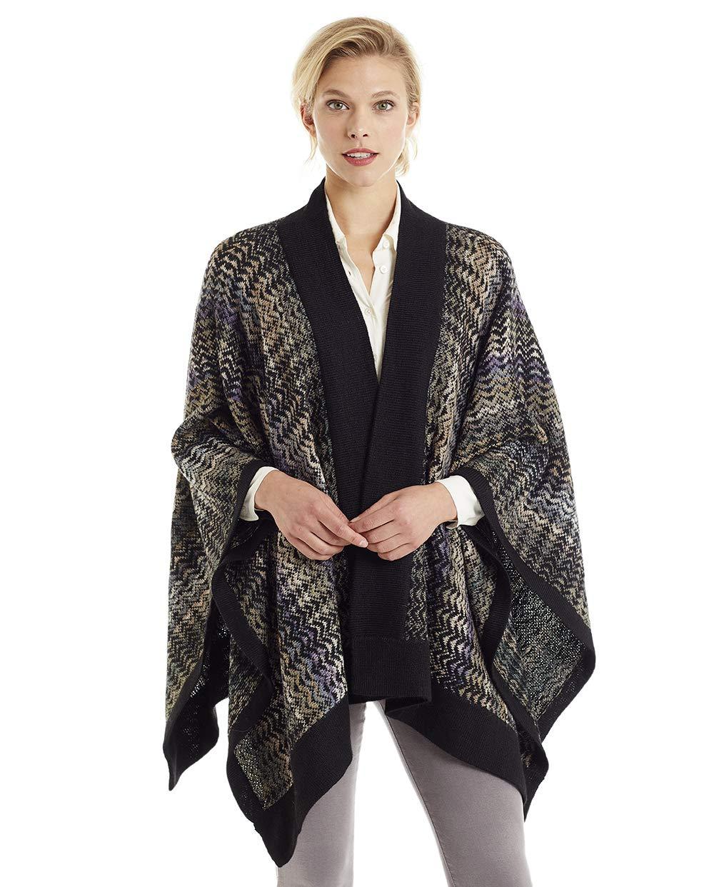 Invisible World Women's Knit 100% Alpaca Wool Poncho Ruana Wrap Noelle