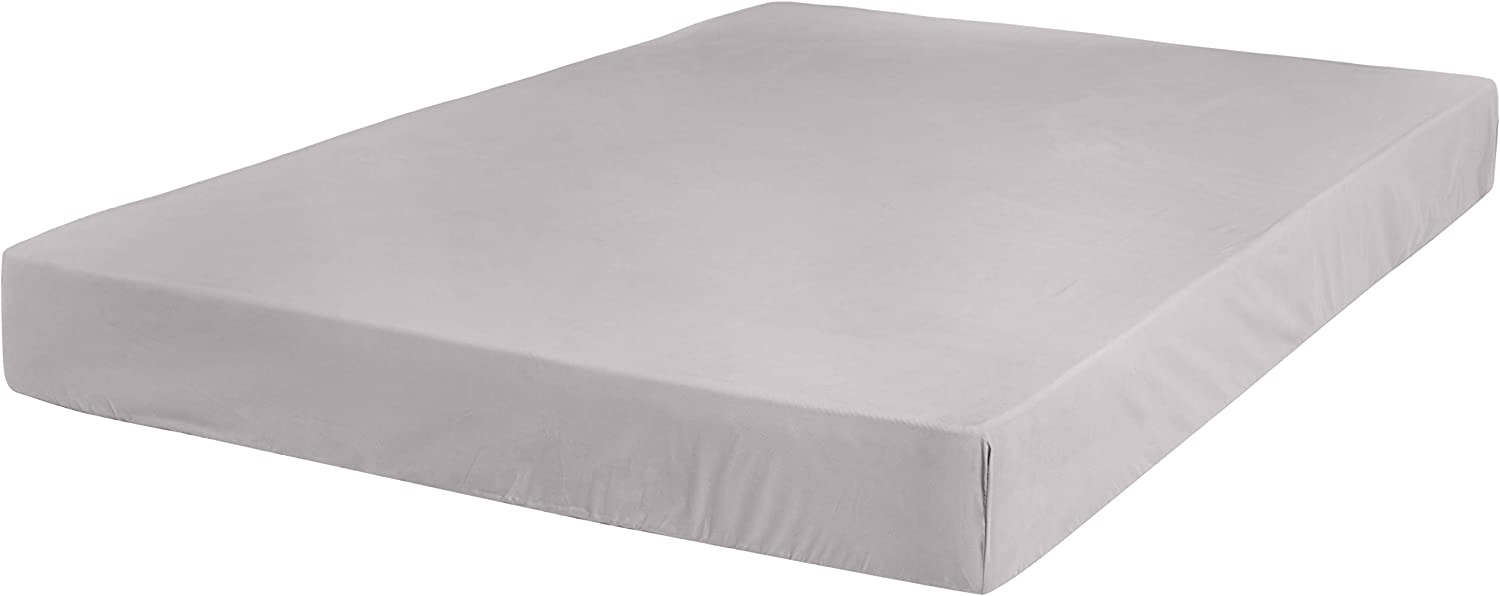 AmazonBasics Ultra-Soft Cotton Fitted Bed Sheet, Breathable, Easy to Wash, Queen, Graphite