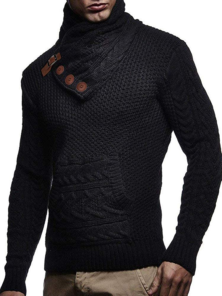 Mens Turtleneck Sweaters Cable Knit Long Sleeve Slim Fit Chunky Casual Fall Winter Pullover Jumper