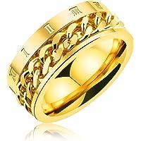 [ティンティンローズ]TingTing Rose ステンレス製 メンズ リング 指輪 回転可能なチェーンテザー ローマ数字 リング 男性指輪