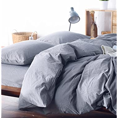 Eikei Washed Cotton Chambray Duvet Cover Solid Color Casual Modern Style Bedding Set Relaxed Soft Feel Natural Wrinkled Look (Queen, Lilac Gray)