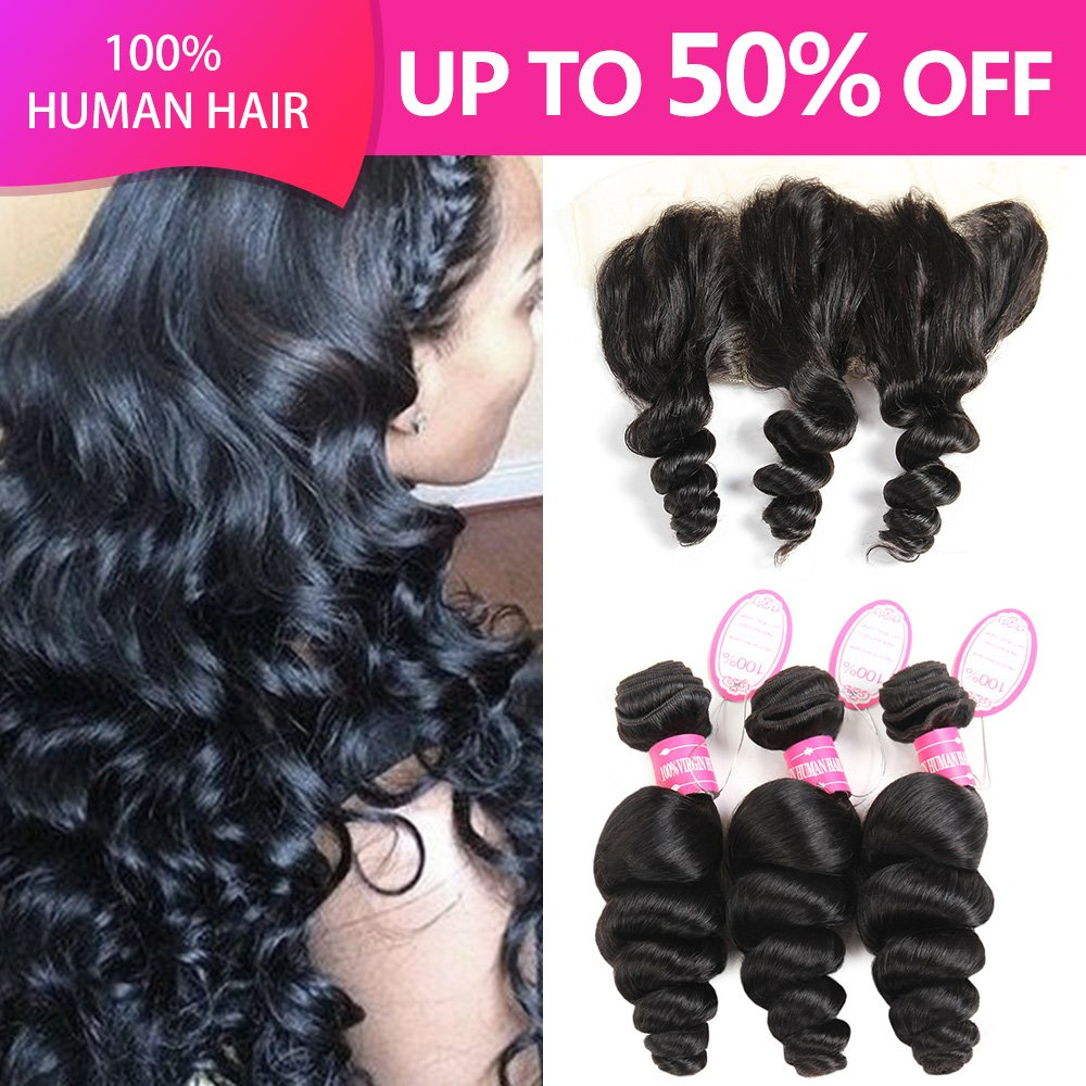 YHL Hair Peruvian Loose Wave 3 Bundles With Lace Frontal 13x4 Ear To Ear Free Part Virgin Human Hair Extensions Natural Color (18 20 22 with 16)