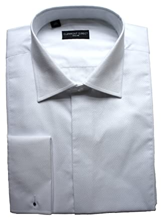 98c57107a3749 Clermont Direct Fly Front 100% Cotton Marcella Shirt Fold Down Collar  White  Amazon.co.uk  Clothing