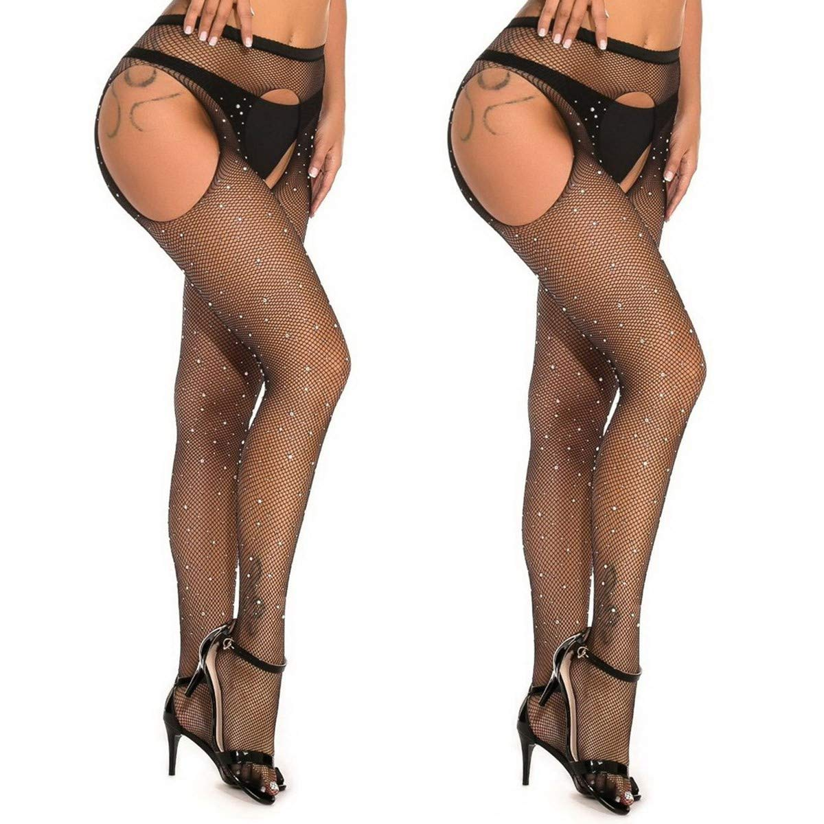 MengPa Fishnet Stockings Rhinestone High Waist Tights Pantyhose Sheer for Women